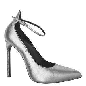 Saint Laurent YSL Heels Leather Silver Pump 38
